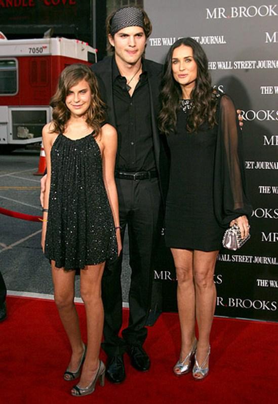 Деми Мур и Эштон Катчер с ее дочерью