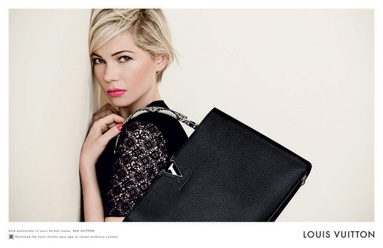Актриса Мишель Уильямс в рекламе сумок Louis Vuitton